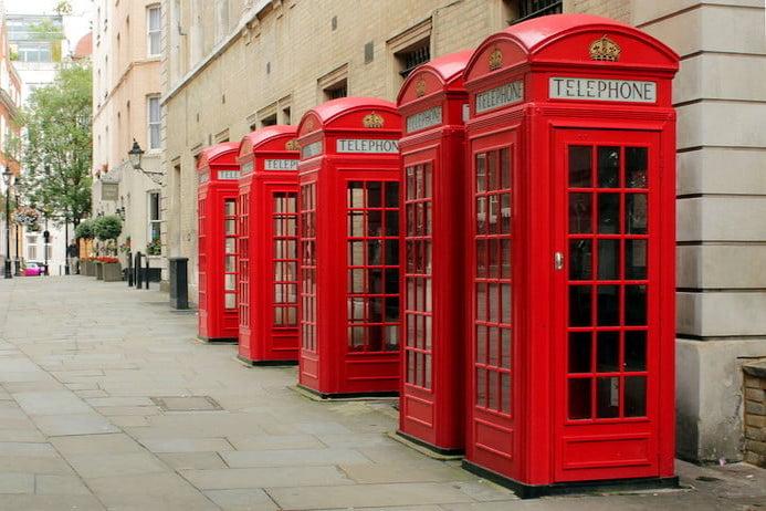 Red public telephones