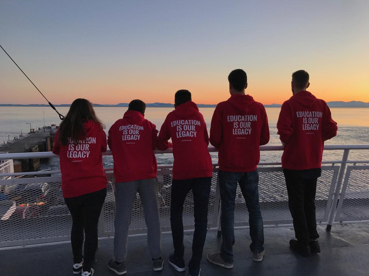 International students watching the sunset